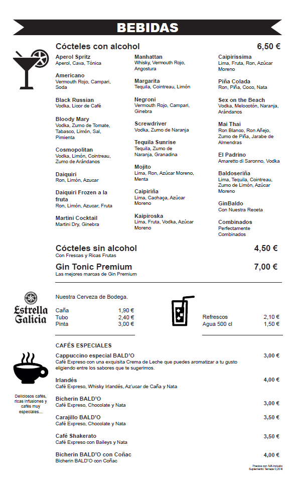 Bebidas Cócteles y postres Restaurante Zaragoza Puerto Venecia