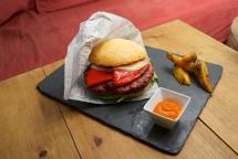 hamburguesa con pimientos