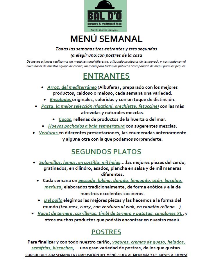 comer menu en puerto venecia zaragoza