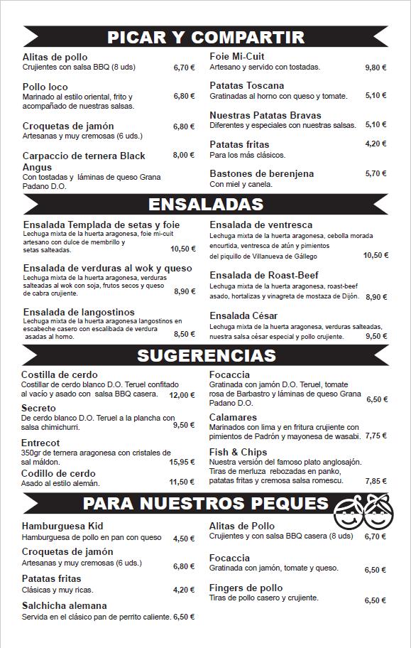 menu diario restaurante Zaragoza puerto Venecia